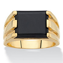 Men's Emerald-Cut Simulated Black Onyx Rectangle Ring 14k Gold-Plated
