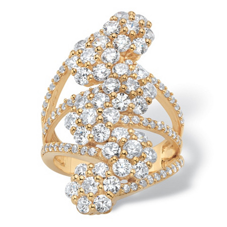 Round Cubic Zirconia Floral Cocktail Ring 3.14 TCW 18k Gold-Plated at PalmBeach Jewelry