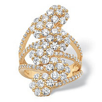 Round Cubic Zirconia Floral Cocktail Ring 3.14 TCW 18k Gold-Plated