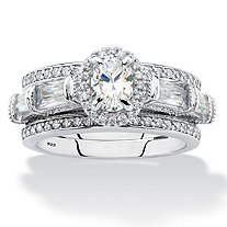 Oval-Cut and Baguette Cubic Zirconia 3-Piece Halo Jacket Wedding Ring Set 3.04 TCW in Sterling Silver