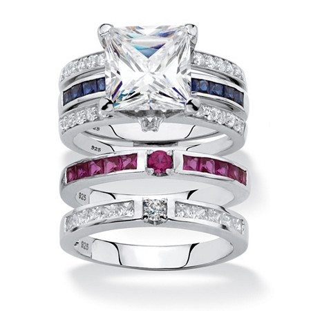Princess-Cut Cubic Zirconia 3-Piece Interchangeable Jacket Ring Set 3.66 TCW with Red and Blue CZ Accents in Sterling Silver at PalmBeach Jewelry