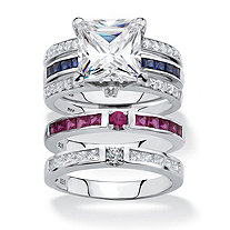 Princess-Cut Cubic Zirconia 3-Piece Interchangeable Jacket Ring Set 3.66 TCW with Red and Blue CZ Accents in Sterling Silver