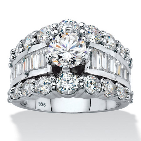 Round Cubic Zirconia Triple Row Engagement Ring 6.40 TCW with Baguette Accents in Sterling Silver at PalmBeach Jewelry