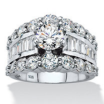 Round Cubic Zirconia Triple Row Engagement Ring 6.40 TCW with Baguette Accents in Sterling Silver