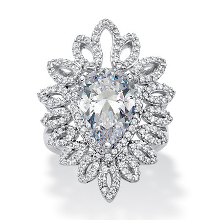 Pear-Cut Cubic Zirconia Open Marquise Floral Ring 5.32 TCW in Platinum over Sterling Silver at PalmBeach Jewelry