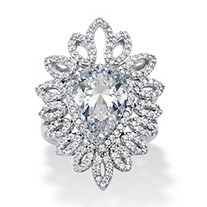 Pear-Cut Cubic Zirconia Open Marquise Floral Ring 5.32 TCW in Platinum over Sterling Silver