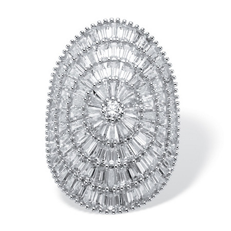 Round and Baguette-Cut Cubic Zirconia Cluster Dome Ring 11.05 TCW Platinum-Plated at PalmBeach Jewelry