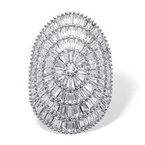 SETA JEWELRY Round and Baguette-Cut Cubic Zirconia Cluster Dome Ring 11.05 TCW Platinum-Plated