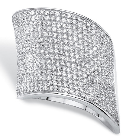 Round Cubic Zirconia Pave Cluster Wave Ring 2 TCW in Silvertone at PalmBeach Jewelry
