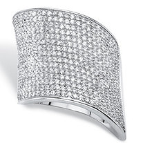 Round Cubic Zirconia Pave Cluster Wave Ring 2 TCW in Silvertone