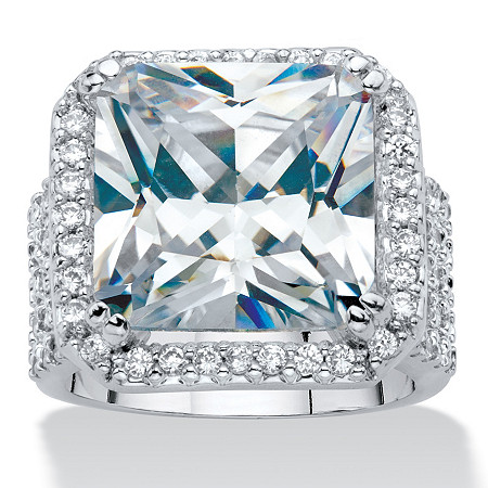 Princess-Cut Cubic Zirconia Halo Octagon Ring in Silvertone (7.97 cttw) at PalmBeach Jewelry