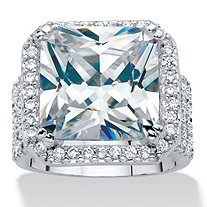 Princess-Cut Cubic Zirconia Halo Octagon Ring in Silvertone (7.97 cttw)