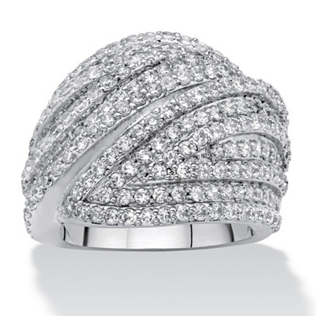 Round Cubic Zirconia Multi-Row Dome Ring 2.85 TCW Platinum-Plated at PalmBeach Jewelry