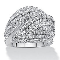 SETA JEWELRY Round Cubic Zirconia Multi-Row Dome Ring 2.85 TCW Platinum-Plated