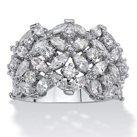 Marquise-Cut and Round Cubic Zirconia Floral Cluster Dome Ring 5.40 TCW Platinum-Plated at PalmBeach Jewelry