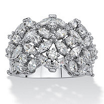 Marquise-Cut and Round Cubic Zirconia Floral Cluster Dome Ring 5.40 TCW Platinum-Plated