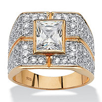 Men's 4.76 TCW Emerald-Cut Cubic Zirconia Grid Ring in 14k Gold over Sterling Silver
