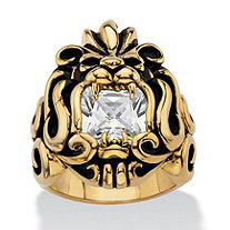 Men's Square-Cut Cubic Zirconia Tribal Lion Ring 2.65 TCW in Antiqued Yellow Gold Ion-Plated Stainless Steel