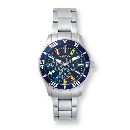 Men's Nautica White Cap Multi-Dial Interchangeable Watch Set with Blue Face and Leather Strap in Stainless Steel 9
