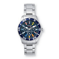 Men's Nautica White Cap Multi-Dial Interchangeable Watch Set with Blue Dial and Leather Strap in Stainless Steel 9""