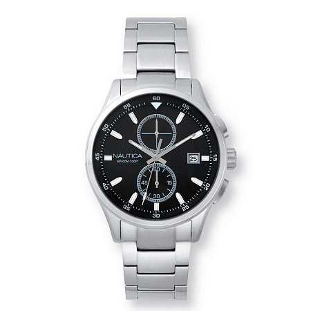 Men's Nautica Lisbon Multi-Dial Interchangeable Watch Set with Black Face in Stainless Steel 9
