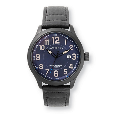 Men's Nautica Hawser Multi-Dial Interchangeable Watch Set with Blue Dial and Leather Bands in Stainless Steel 9