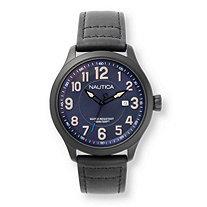 Men's Nautica Hawser Multi-Dial Interchangeable Watch Set with Blue Dial and Leather Bands in Stainless Steel 9""