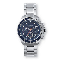 Men's Nautica Multi-Dial Sports Watch with Blue Dial in Stainless Steel 9""