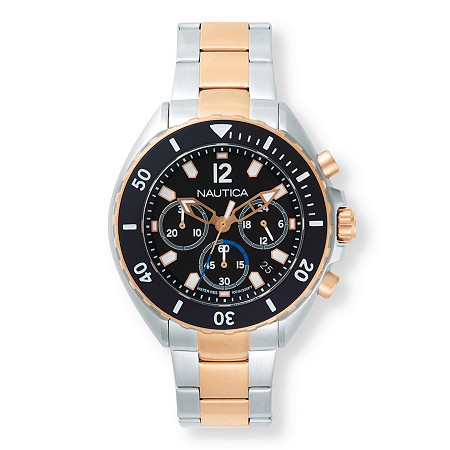 Men's Nautica Multi-Dial Two-Tone Sports Watch with Black Dial in Stainless Steel and Rose Gold Tone 9