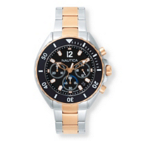 "Men's Nautica Multi-Dial Two-Tone Sports Watch With Black Face In Stainless Steel And Rose Gold Tone 9"" ONLY $139.99"