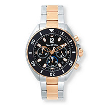 Men's Nautica Multi-Dial Two-Tone Sports Watch with Black Face in Stainless Steel and Rose Gold Tone 9""