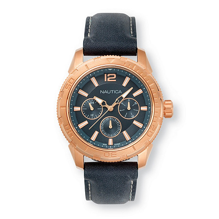 "Men's Nautica Multi-Dial Watch with Black Face in Rose Gold Tone over Stainless Steel 9"" at PalmBeach Jewelry"