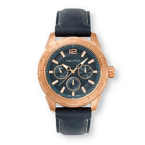 Men's Nautica Multi-Dial Watch with Black Dial in Rose Gold Tone over Stainless Steel 9""