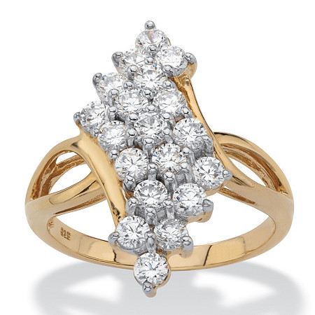 Round Cubic Zirconia Bypass Cluster Cocktail Ring 1.14 TCW in 18k Gold over Sterling Silver at PalmBeach Jewelry