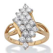 Round Cubic Zirconia Bypass Cluster Cocktail Ring 1.14 TCW in 18k Gold over Sterling Silver