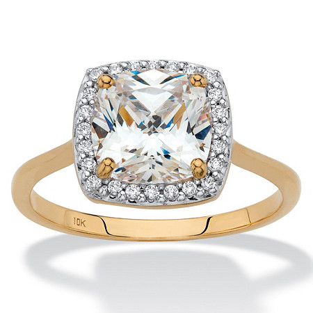 Cushion-Cut Cubic Zirconia Halo Engagement Ring 1.82 TCW in Solid 10k Yellow Gold at PalmBeach Jewelry