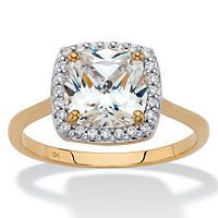 Cushion-Cut Cubic Zirconia Halo Engagement Ring 1.82 TCW In Solid 10k Yellow Gold ONLY $169.99
