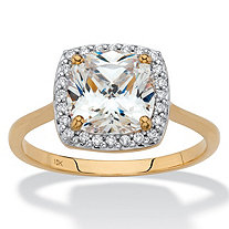 SETA JEWELRY Cushion-Cut Cubic Zirconia Halo Engagement Ring 1.82 TCW in Solid 10k Yellow Gold