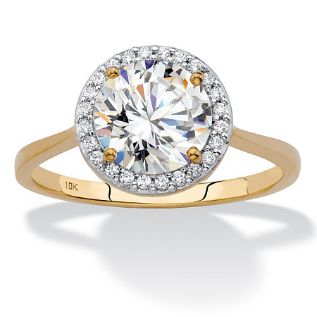 Round Cubic Zirconia Halo Engagement Ring 2.12 TCW in Solid 10k Yellow Gold at PalmBeach Jewelry