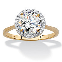 Round Cubic Zirconia Halo Engagement Ring 2.12 TCW in Solid 10k Yellow Gold