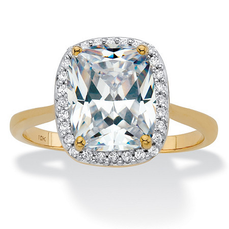 Cushion-Cut Cubic Zirconia Halo Engagement Ring 3.34 TCW in Solid 10k Yellow Gold at PalmBeach Jewelry
