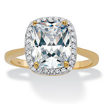 SETA JEWELRY Cushion-Cut Cubic Zirconia Halo Engagement Ring 3.34 TCW in Solid 10k Yellow Gold