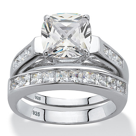 Cushion-Cut Cubic Zirconia 2 Piece Wedding Ring Set 3.58 TCW in Platinum over Sterling Silver at PalmBeach Jewelry