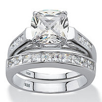 Cushion-Cut Cubic Zirconia 2 Piece Wedding Ring Set 3.58 TCW in Platinum over Sterling Silver