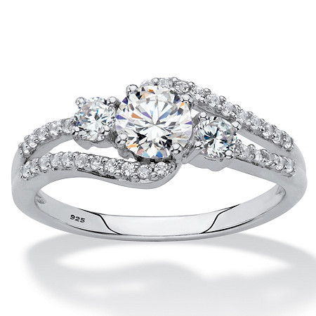Round Created White Sapphire 3-Stone Bypass Ring 1.75 TCW in Platinum over Sterling Silver at PalmBeach Jewelry