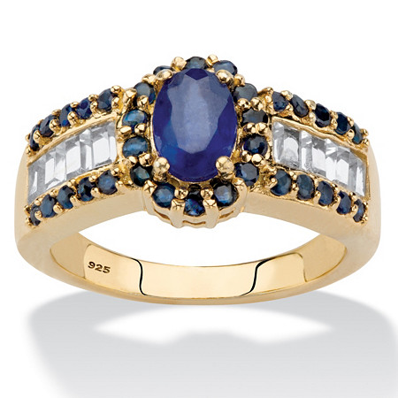 Oval-Cut Genuine Blue Sapphire and White Topaz Accents Halo Ring 15.68 TCW in 14k Gold over Sterling Silver at PalmBeach Jewelry