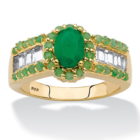 Oval-Cut Genuine Green Emerald and White Topaz Halo Ring 12.37 TCW in 14k Gold over Sterling Silver at PalmBeach Jewelry