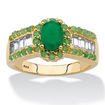 SETA JEWELRY Oval-Cut Genuine Green Emerald and White Topaz Halo Ring 12.37 TCW in 14k Gold over Sterling Silver