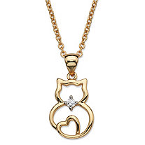 "Round Cubic Zirconia Accent Cat Charm Pendant Necklace 14k Gold-Plated 18""-20"""