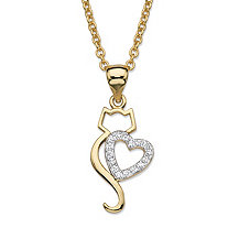 "Round Cubic Zirconia Heart Cat Pendant Necklace .13 TCW 14k Gold-Plated 18""-20"""